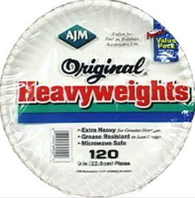 Ajm Packaging Corporation Original Heavyweights White Paper Plates, 9in. - 120 ct.