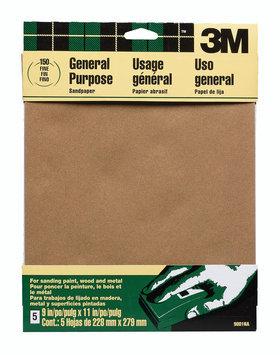 3M 9002 All-Purpose Sandpaper-5PK MEDIUM SANDPAPER