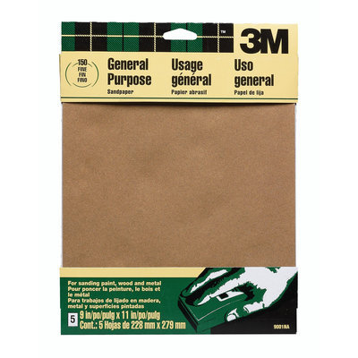 3M 9002 All-Purpose Sandpaper-5PK MEDIUM SANDPAPER