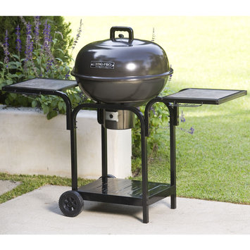 BBQ Pro BPRCT 2250 K/D Round Cart Charcoal Grill with Base Shelf & Tile Table - TAIWAN NAN SHAN BAMBOO WARE CO