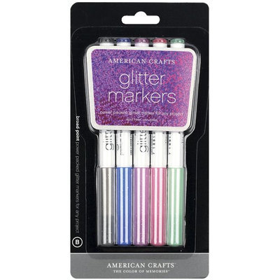 American Crafts GG62439 Glitter Markers Broad Point 5/Pkg