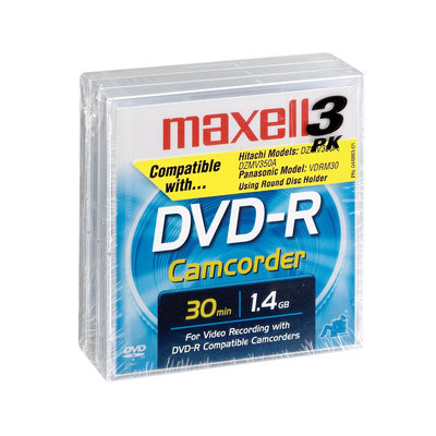 Maxell DVD-R Blank Media for Camcorder, 3 pk.