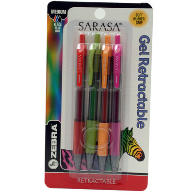 Zebra Sarasa Gel 4 pk Assorted Colors Cobalt/Fuchsia/Mustard/Lime - ZEBRA PEN CORP