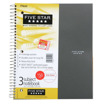 Mead Five Star 3 Subject Notebook, Wide Ruled, 150 Sheets, 1 notebook - MEAD PRODUCTS
