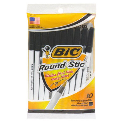 BIC Round Stick Ballpoint Pens in Black 10 Pack