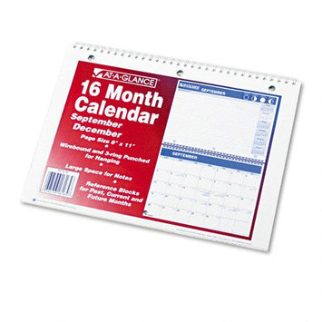 At-a-glance 16 Month Calendar 8 inch x 11 inch