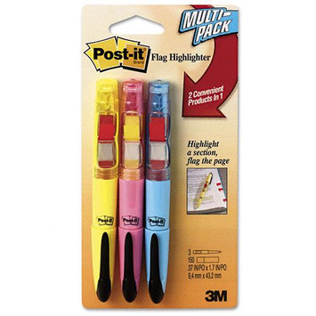 Post-it® Flag + Highlighter, Blue/Yellow/Pink, 50 Flags/Pen, 3/Pk