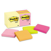3M 65414YWM Post-It Notes 100 Sheets/Pads 3inx3in 14/PK Assorted