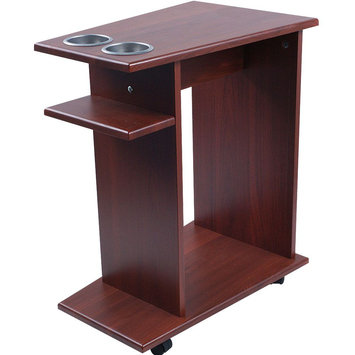 Trademark Poker Mahogany Poker Drink Food Cart with Cup Holders on Wheels