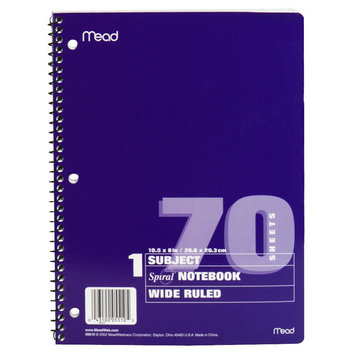 Atico Ltd. Spiral Notebook, 1 Subject, Wide Ruled, 70 Sheets, 70 sheets