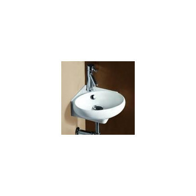 Elanti 1103 Porcelain White Corner Wall-Mounted Oval Compact Sink