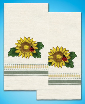 Design Works Crafts, Inc. Tobin Stamped Kitchen Towels For Embroidery-Sunflower