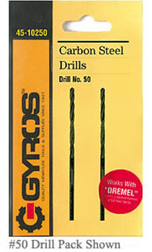 Gyros 45-10260 Carbon Steel Wire Gauge Drill Bit #60 - Card/2
