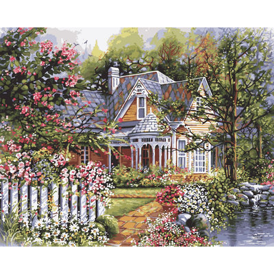 Plaid Enterprises, Inc. 16 in. x 20 in. 24-Color Kit Victorian Cottage Paint by Number 21676