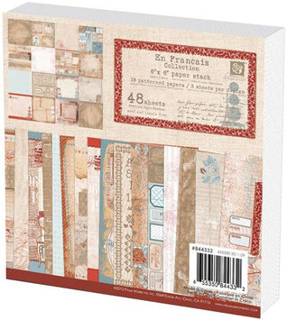 Prima Flowers 844332 En Francais Paper Stack 6 in. x 6 in. 48 Sheets16 Designs3 Each