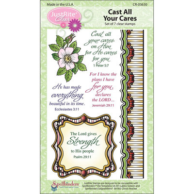 JustRite Stampers Clear Stamp Sets-Cast Your Cares 7pc