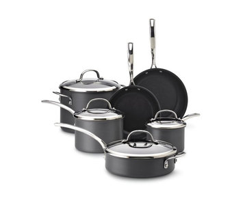 Kenmore 10 pc. Hard Anodized Interior Cookware Set Black