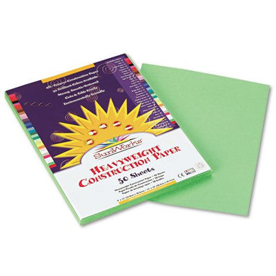 SunWorks Construction Paper, Heavyweight, 9 x 12, Light Green, 50 Sheets
