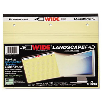 Roaring Spring Paper Products 95511 Landscape Wide Stiff-Back Pad - 24 Per Case