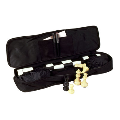 Sunnywood 2375-B Standard Tournament Chess Set Square Mat Black Bag