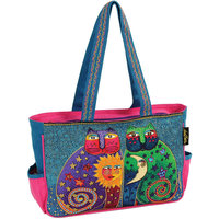 Laurel Burch Medium Tote with Zipper Top - Celestial Felines