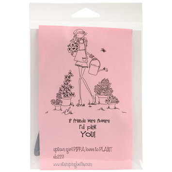 Stamping Bella Unmounted Rubber Stamp-Uptown Girl Pippa Loves To Plant