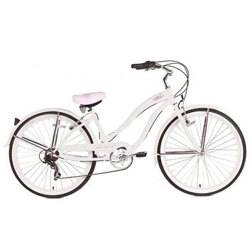 Micargi White Rover 7 Speed Beach Cruiser Female - WARD INTERNATIONAL TRADING INC.