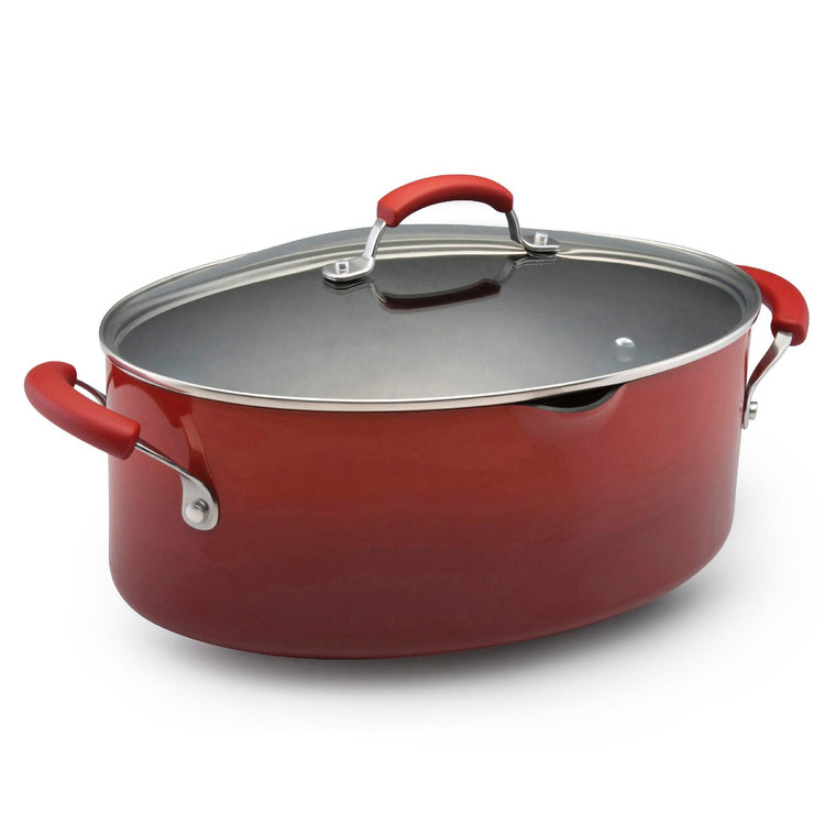 Rachael Ray 8-qt. Two-Tone Red Covered Oval Pasta Pot