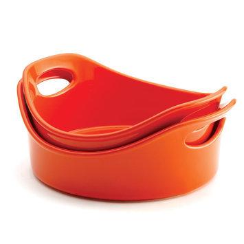 Meyer Corp. Rachael Ray Stoneware 2-Piece Orange Open Baker Set