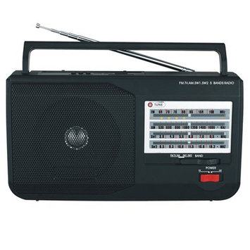 Supersonic 5 Band AM/FM/SW1/SW2/TV Portable Radio - USB - Black