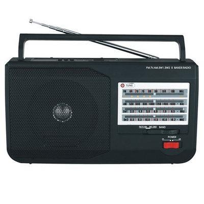 Supersonic 5 Band AM/FM/SW1/SW2/TV Portable Radio - USB - Black