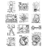 Stampers Anonymous Tim Holtz Large Cling Rubber Stamp Set-Mini Blueprints 3