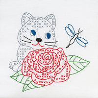 Jack Dempsey Inc. Jack Dempsey Kitten And Rose Stamped White Quilt Blocks, 9