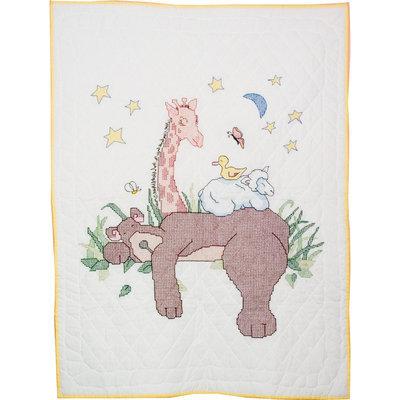 Fairway Needlecraft Sleeping Bear Stamped Baby Quilt Top, 36