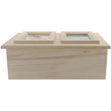 Plaid:craft Wood Memory Box Double Picture Frame 9 1/4