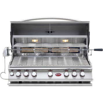 Cal Flame Grill. 5-Burner Built-In Stainless Steel Propane Gas Convection Grill with Infrared Rotisserie