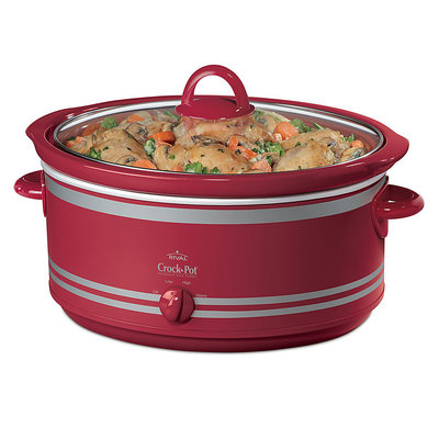 Rival 7 qt. Stoneware Slow Cooker w/Bonus Travel Bag Red