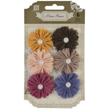 Prima Flowers Cabaletta Fabric Flowers W/Pearl Middles 1.5