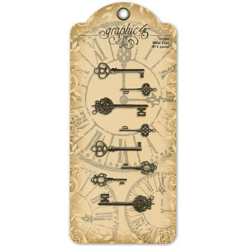 Graphic 45 Ornate Metal Keys. 8pk