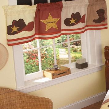 PEM America Cowboys Window Valance With Sheriff Star Pattern