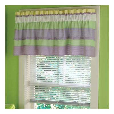 PEM America Annas Ruffle Window Valance in Yellow and Purple