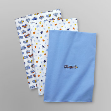 Baby Starters Infant Boy's 3 Pk Receiving Blankets - Trucks Blue