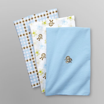 Baby Starters Infant Boy's 3 Pk Receiving Blankets - Monkey Blue