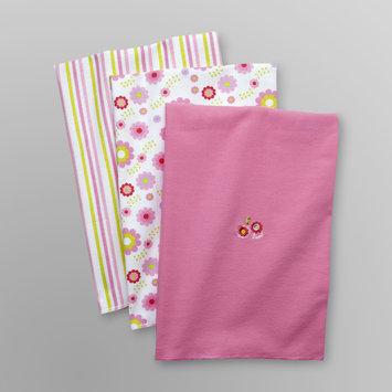Baby Starters Infant Girl's 3 Pk Receiving Blankets - Flower Pink