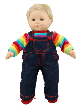 The Queen's Treasures 15-inch Doll Clothes - Twin Rainbow Overalls