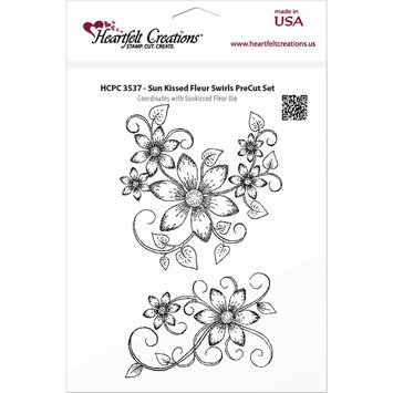 Heartfelt Creations Cling Rubber Stamp Set 5X6.5in-Sun Kissed Fleur Swirls