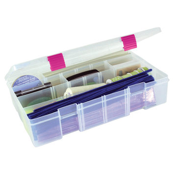 Creative Co Creative Options Pro Latch Deep Utility Box with 4-15 Compartments - Clear/Magenta