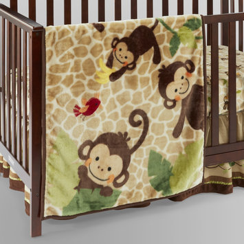 Lambs & Ivy TICKLES HI PILE SWINGING MONKEY BLANKET Multi-color