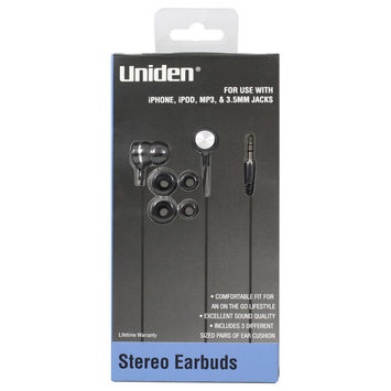 Esi Cases & Accessories Uniden Stereo Earbuds Black UN702 - ESI CASES AND ACCESSORIES