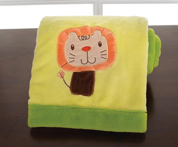 Kids Line Happy Tails Embroidered Boa Blanket - Green